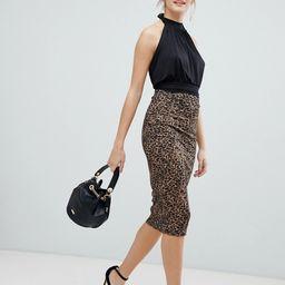ASOS DESIGN leopard print ponte pencil midi skirt - Multi   ASOS US