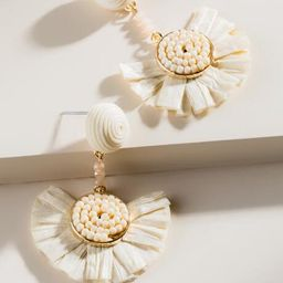 Cayden Raffia Earrings in Ivory - Ivory | Francesca's Collections