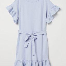 H & M - Flounced Jersey Dress - Blue   H&M (US)
