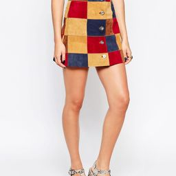 ASOS A Line Skirt In Patchwork Suede With Button Through | ASOS US