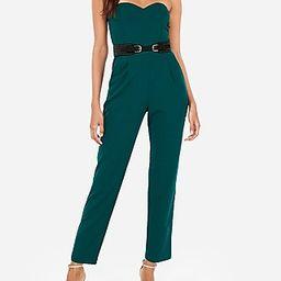 Express Womens Strapless Sweetheart Neck Jumpsuit Green Women's 00 Green 00 | Express