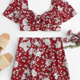 Two Piece Floral Print High Waist Mini Skirt Set   ZAFUL (Global)