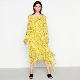Studio by Preen - Yellow Floral Print Chiffon Cold Shoulder High Low Dress   Debenhams UK