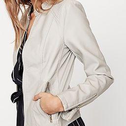 Express Womens Faux Leather Double Peplum Jacket Neutral Women's S Neutral S | Express