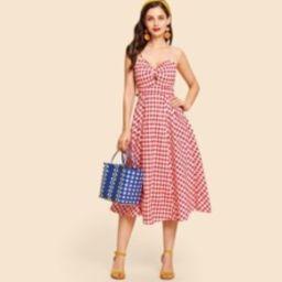 Twist Front Gingham Slip Dress   SHEIN