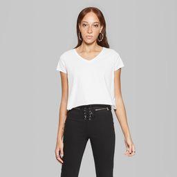 Women's Basic Sleeve V-Neck Boxy T-Shirt - Wild Fable White M   Target