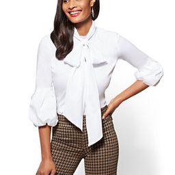 Ruffled-Sleeve Tie-Detail Poplin Shirt   New York & Company