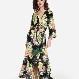 Express Womens High Waisted Tropical Print Maxi Skirt | Express