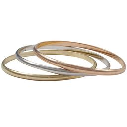 Luxiro Tri-color Gold Rose Gold and Rhodium Finish Bangle Bracelet Set - Silver   Overstock