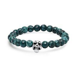 Steeltime Men's Diluted Green Agate Beaded Bracelet With Stainless Steel Skull | Overstock