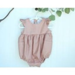 Linen Vintage Rose Romper Ruffle Sleeve | Etsy (US)