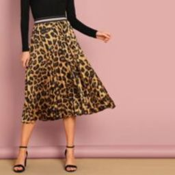 Striped Waist Leopard Print Skirt   SHEIN