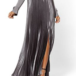 Petite Silver Pleated Maxi Skirt | New York & Company