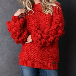 Red Chunky-Knit Puff-Sleeve Sweater - Women | zulily
