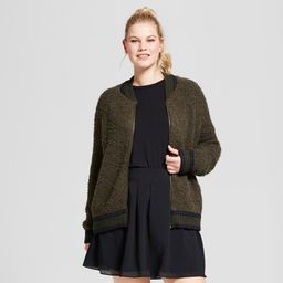 Women's Plus Size Boucle Bomber - A New Day Green X | Target