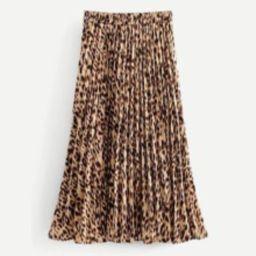 Leopard Print Pleated Skirt   SHEIN