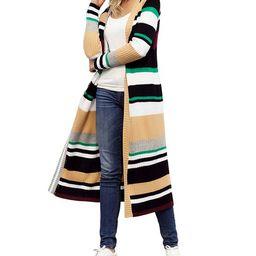 Khaki & Green Stripe Open Duster - Women | Zulily