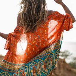 Kimono Cover Up Boho Chiffon Orange Red Half Sleeve Beach Wear For Women   Milanoo