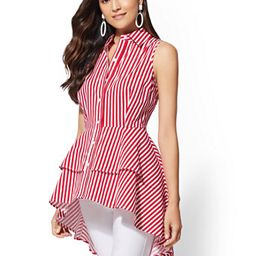 Red Stripe Hi-Lo Poplin Shirt | New York & Company
