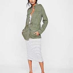 Express Womens Four Pocket Military Twill Jacket Green Women's Xs Green Xs | Express