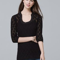 Women's Three Quarter-Sleeve Embellished-Detail Sweater by White House Black Market, Black, Size XL | White House Black Market