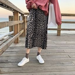Leopard Print Midi Accordion Pleat Velvet Skirt As Shown In Figure - One Size | YesStyle Global