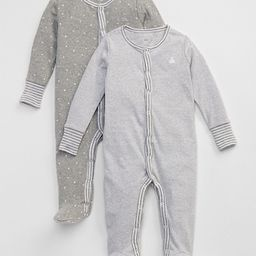Gap Baby Favorite Stripe Footed One-Piece (2-Pack) Light Heather Gray Size 0-3 M | Gap US