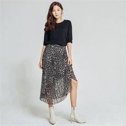 Accordion-Pleats Chiffon Leopard Skirt   YesStyle Global