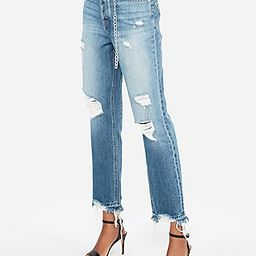 Express Womens High Waisted Chain Original Straight Ankle Jeans   Express
