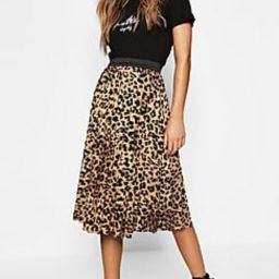 Leopard Print Pleated Midi Skirt   Boohoo.com (US & CA)