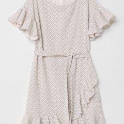 H & M - Patterned Flounced Dress - Beige   H&M (US)
