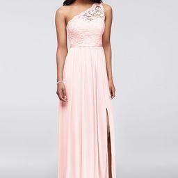 Long One Shoulder Lace Bridesmaid Dress Style F17063 | Davids Bridal