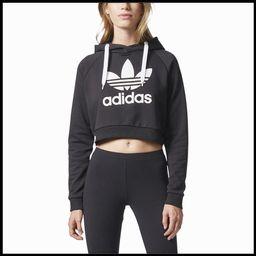 adidas Originals Trefoil Crop Hoodie - Womens - Black/White | Six:02