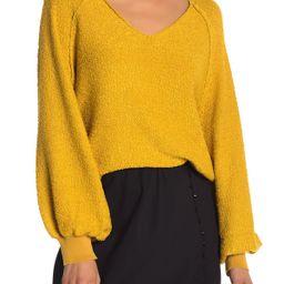 Textured V-Neck Blouson Sleeve Sweater | Nordstrom Rack