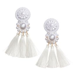 H & M - Earrings with tassels - White   H&M (US)