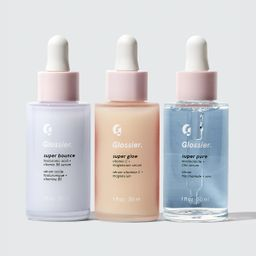Glossier Super Pack, Our set of three serums that act as supplements for your skin: Super Glow, Super Pure, Super Bounce   Glossier