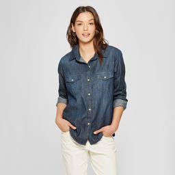 Women's Labette Long Sleeve Denim Shirt - Universal Thread Dark Wash XS, Blue | Target