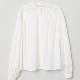 H & M - Embroidered Blouse - White   H&M (US)