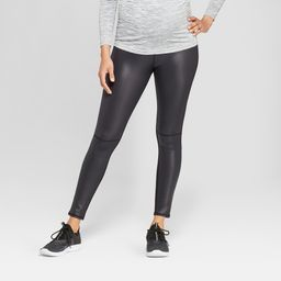 Maternity Faux Front Leather Active Leggings with Crossover Panel - Isabel Maternity by Ingrid & Isabel Black XS, Women's | Target