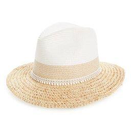 Women's Caslon Crochet Trim Straw Panama Hat - Brown | Nordstrom