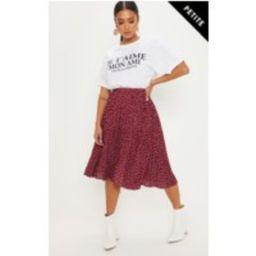 Petite Burgundy Polka Dot Pleated Midi Skirt   Pretty Little Thing US