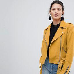Y.A.S Suede Biker Jacket - Yellow | ASOS US