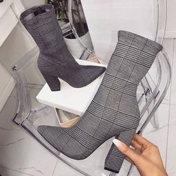 Plaid Chunky Heel Pointed Toe Side Zipper Cotton Ankle Boots | TBDress.com