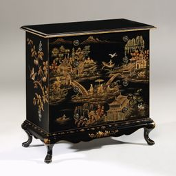 Five-Drawer Chinoiserie Black Chest with Antique Crackled Finish | The Well Appointed House