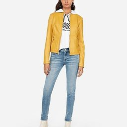 Express Womens Faux Leather Double Peplum Jacket Yellow Women's Xxs Yellow Xxs | Express