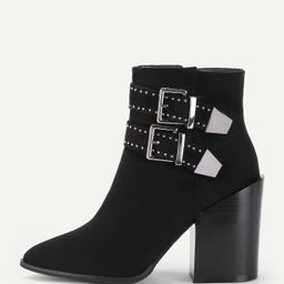 Double Buckle Block Heeled Ankle Boots | SHEIN