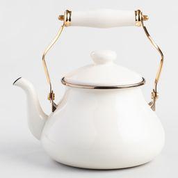 Ivory Enamel Tea Kettle: White - Metal by World Market | World Market