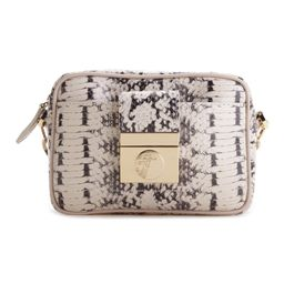 Gray Snake-Embossed Leather Crossbody Bag | zulily
