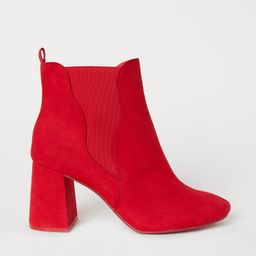 H & M - Ankle Boots with Side Panels - Red   H&M (US)