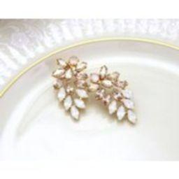 Gold earrings, White opal earrings, Bridal earrings, Bridal jewelry, Champagne earrings, Swarovski crystal earrings, Statement earrings   Etsy (US)